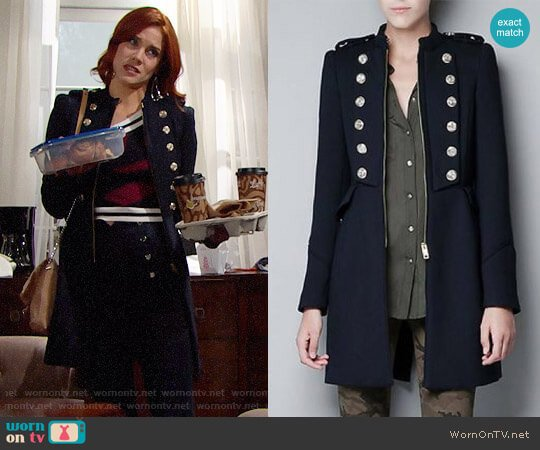 Zara Military Coat worn by Sally Spectra (Courtney Hope) on The Bold & the Beautiful