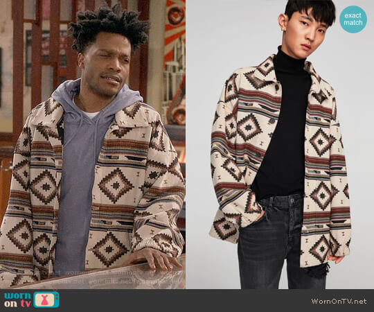 Zara Oversized Jacquard Jacket worn by Franco Wicks (Jermaine Fowler) on Superior Donuts
