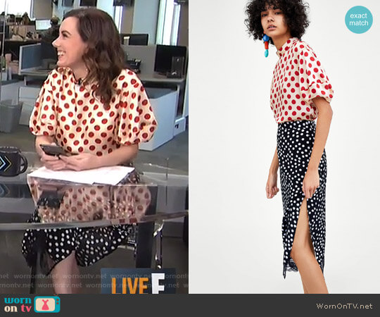 Polka Dot Top and Midi Skirt with Lace Trim by Zara worn by Melanie Bromley  on E! News