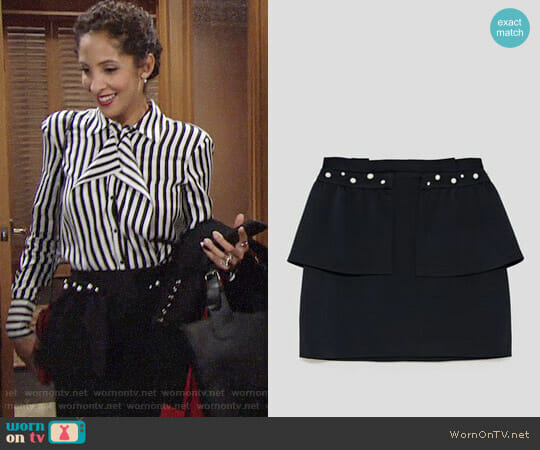Zara Skirt with Pearl Beads worn by Christel Khalil on The Young & the Restless