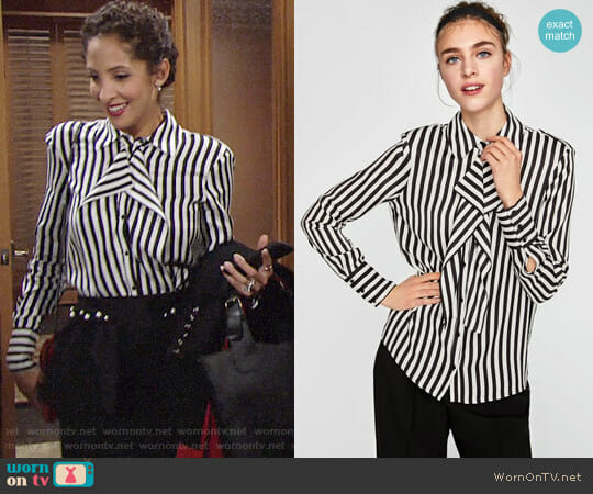 Zara Striped Blouse with Shoulder Pads worn by Christel Khalil on The Young & the Restless
