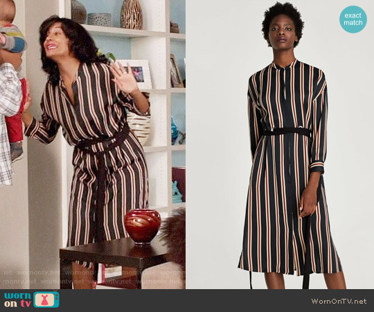 Zara Striped Tunic with Belt worn by Rainbow Johnson (Tracee Ellis Ross) on Blackish