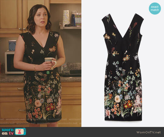 Floral V-Neck Dress by Zara worn by Rachel Bloom on Crazy Ex-Girlfriend