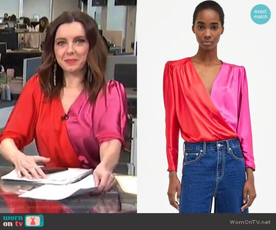 Two-Tone Crossover Bodysuit by Zara worn by Melanie Bromley on E! News