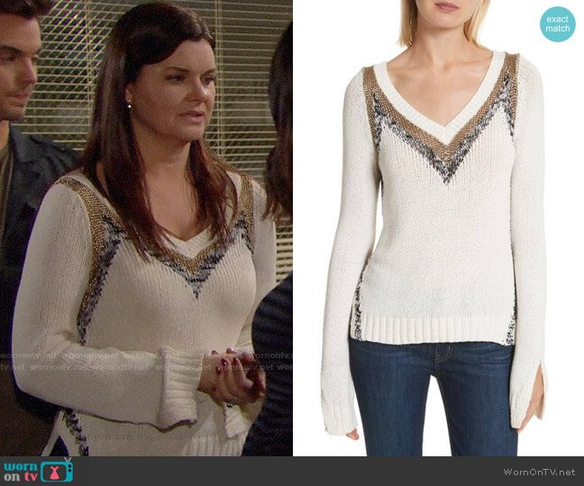 10 Crosby Derek Lam V-neck Stripe Pullover worn by Katie Logan (Heather Tom) on The Bold & the Beautiful