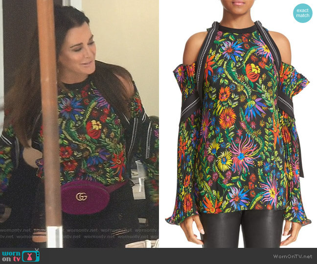 Floral Cold Shoulder Top by 3.1 Phillip Lim worn by Kyle Richards  on The Real Housewives of Beverly Hills