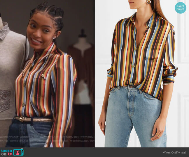 Buse Striped Satin Shirt by Acne Studios worn by Zoey Johnson (Yara Shahidi) on Grown-ish