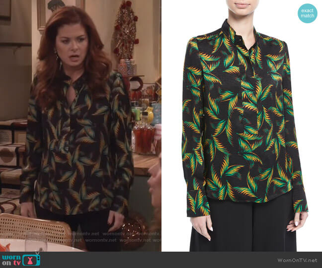 Gosford Button-Front Printed Silk Top by ALC worn by Grace Adler (Debra Messing) on Will & Grace