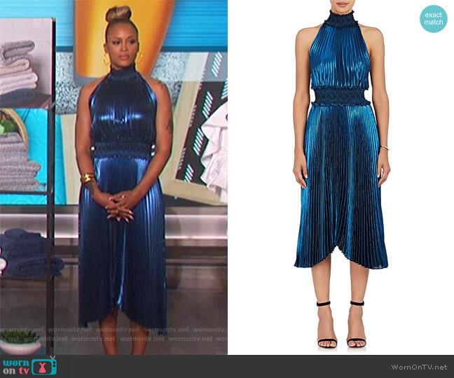 Kravitz Lamé Halter Dress by ALC worn by Eve on The Talk