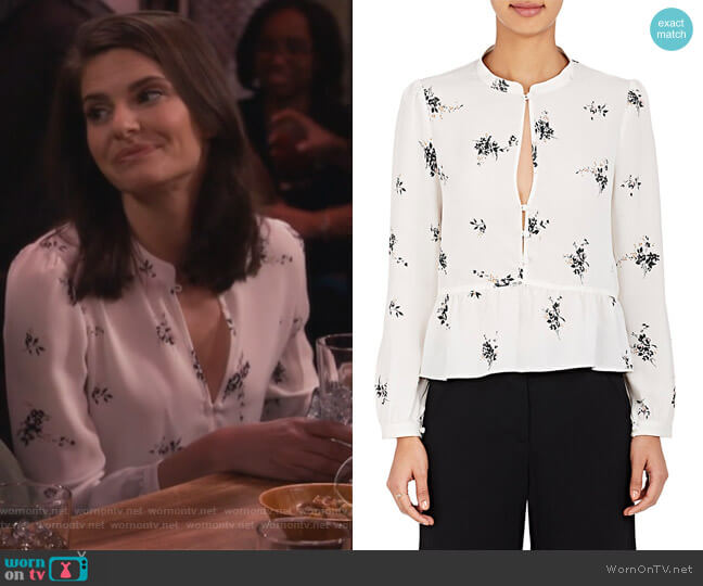 Lox Silk Peplum Blouse by ALC worn by Leslie Curry (Lindsey Kraft) on Living Biblically