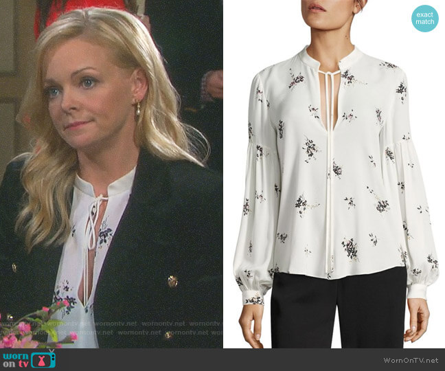 Ty Lantern Sleeve Floral-Print Silk Blouse by ALC worn by Belle Brady (Martha Madison) on Days of our Lives