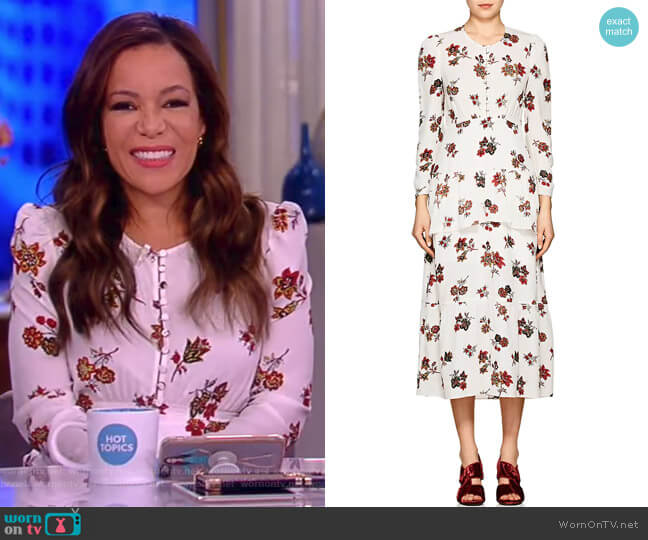 Zandra Floral Silk Crepe Dress by A.L.C. worn by Sunny Hostin  on The View