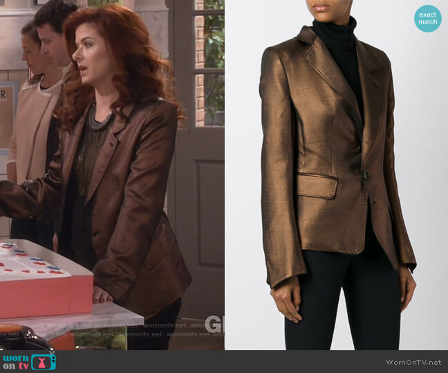 Metallic Blazer by Ann Demeulemeester worn by Grace Adler (Debra Messing) on Will & Grace