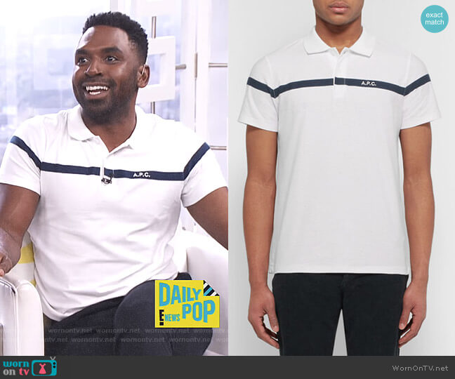 Henri Embroidered Polo Shirt by APC worn by Justin Sylvester on E! News