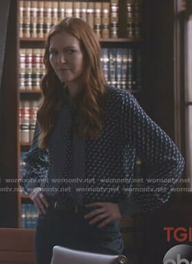Abby's navy dog print blouse on Scandal