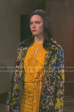 Abigail's yellow jaquard knotted waist dress on Days of our Lives