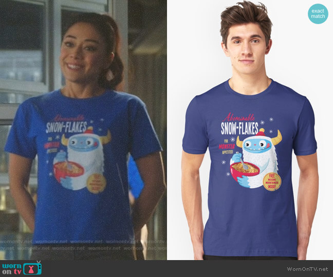 Abominable Snowflakes Unisex T-Shirt by Dino Mike worn by Aimee Garcia on Lucifer