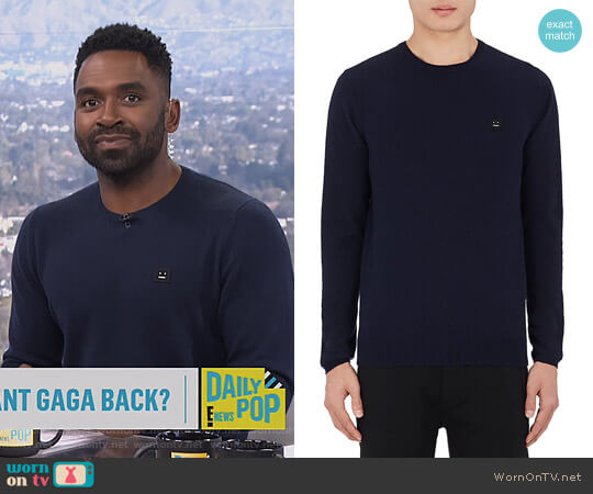Dasher O Face Wool Sweater by Acne Studios worn by Justin Sylvester  on E! News
