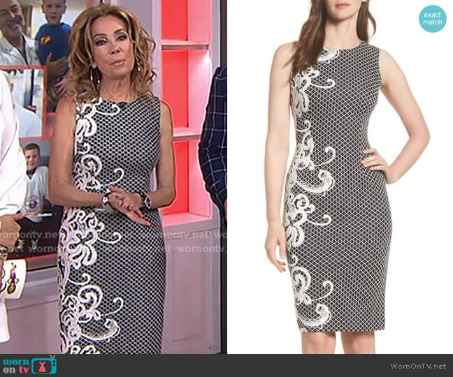 Scroll Border Knit Sheath Dress by Adrianna Papell worn by Kathie Lee Gifford on Today