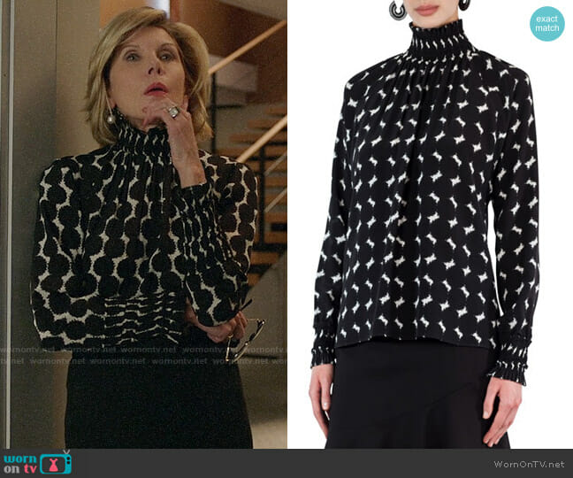 Akris Punto Smocked Punto Dot Lace Silk Blouse worn by Christine Baranski on The Good Fight