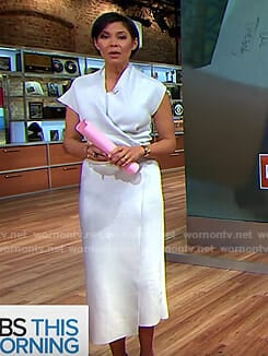 Alex Wagner's white knit wrap dress on CBS This Morning