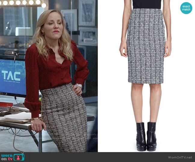 Alexander McQueen Lightweight Tweed Pencil Skirt worn by Marissa Morgan (Geneva Carr) on Bull