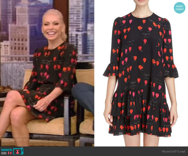 Petal Print Silk Ruffle Dress by Alexander McQueen worn by Kelly Ripa  on Live with Kelly & Ryan