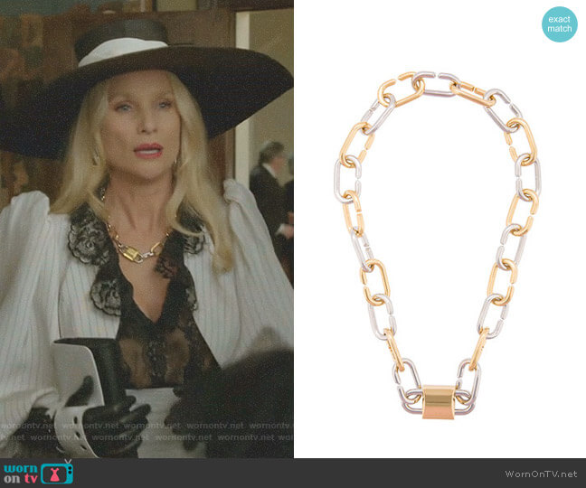 Broken Link Double Lock Necklace by Alexander Wang worn by Alexis Carrington (Elaine Hendrix) on Dynasty
