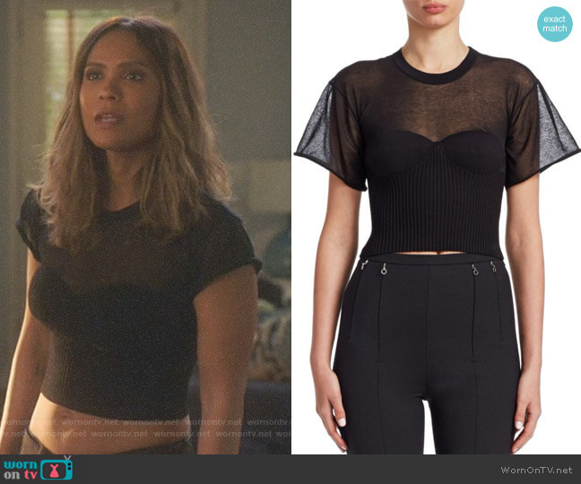 Cropped Tee With Integral Bra Cups by Alexander Wang worn by Lesley-Ann Brandt on Lucifer