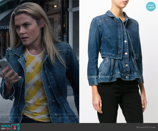 Denim Peplum Jacket by Alexander McQueen worn by Trish Walker (Rachael Taylor) on Jessica Jones