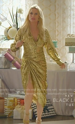 Alexis's metallic leopard shirt and skirt on Dynasty