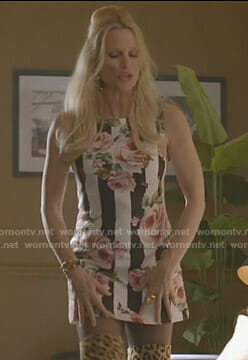 Alexis's striped floral mini dress on Dynasty