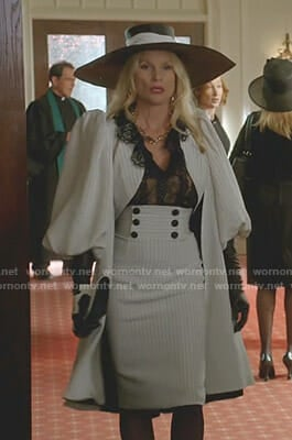 Alexis's white striped balloon sleeve jacket and skirt on Dynasty