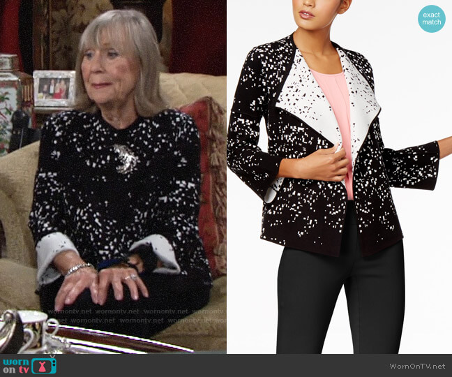 Alfani Printed Colorblocked Cardigan worn by Dina Mergeron (Marla Adams) on The Young & the Restless