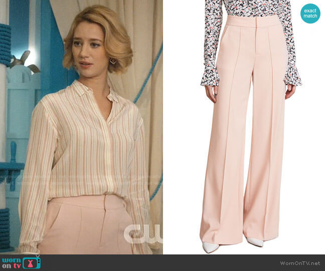 Alice + Olivia Dylan Blush Pants worn by Petra Solano (Yael Grobglas) on Jane the Virgin