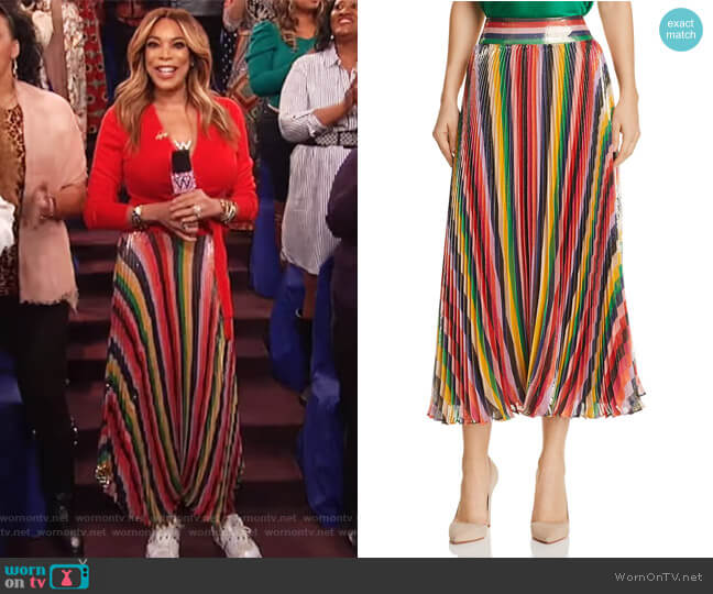 Katz Sunburst Pleated Metallic Striped Midi Skirt by Alice + Olivia worn by Wendy Williams on The Wendy Williams Show