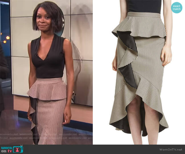Alessandra Stripe Peplum Ruffle Skirt by Alice + Olivia  worn by Zuri Hall on E! News