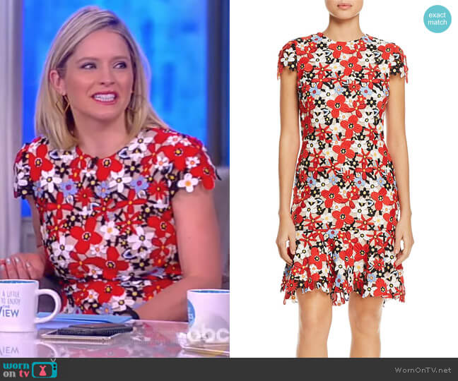 Imani Cap-Sleeve Floral Embroidered Dress by Alice + Olivia worn by Sara Haines  on The View