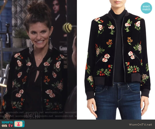 Lonnie Cropped Bomber Jacket by Alice + Olivia worn by Lindsey Kraft on Living Biblically