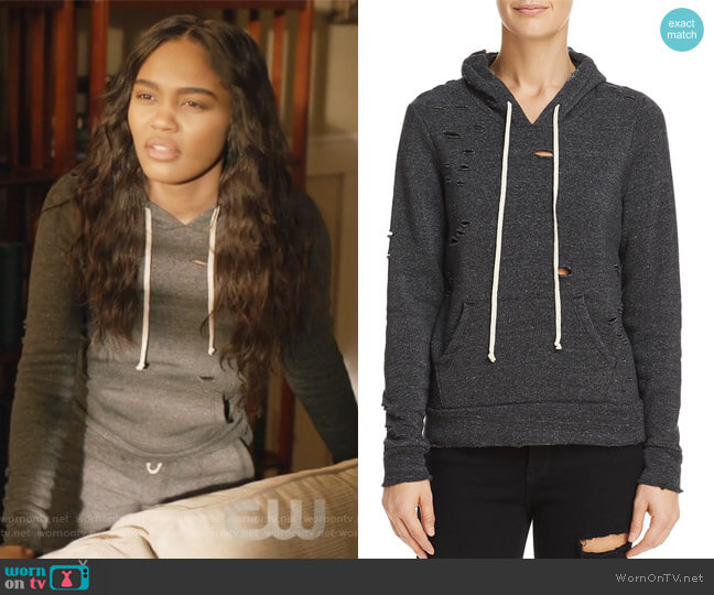 Distressed Hooded Sweatshirt by Alternative worn by Jennifer Pierce (China Anne McClain) on Black Lightning