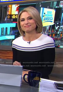 Amy's black striped dress on Good Morning America