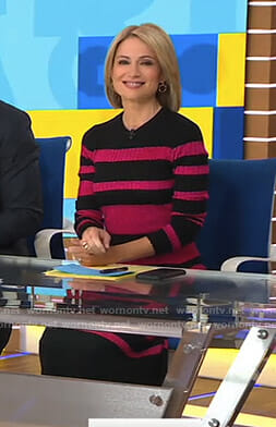 Amy's black and pink striped sweater dress on Good Morning America
