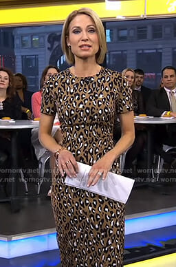 Amy's brown leopard print dress on Good Morning America