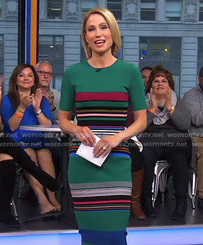 Amy's green striped dress on Good Morning America