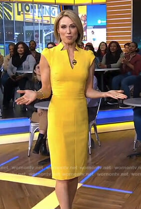 Amy's yellow v-neck dress on Good Morning America