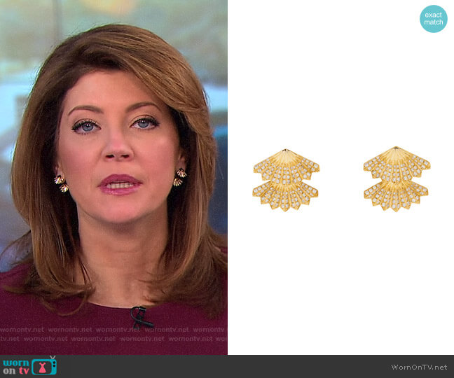 Double Fan Earrings by Anita Ko worn by Norah O'Donnell  on CBS This Morning