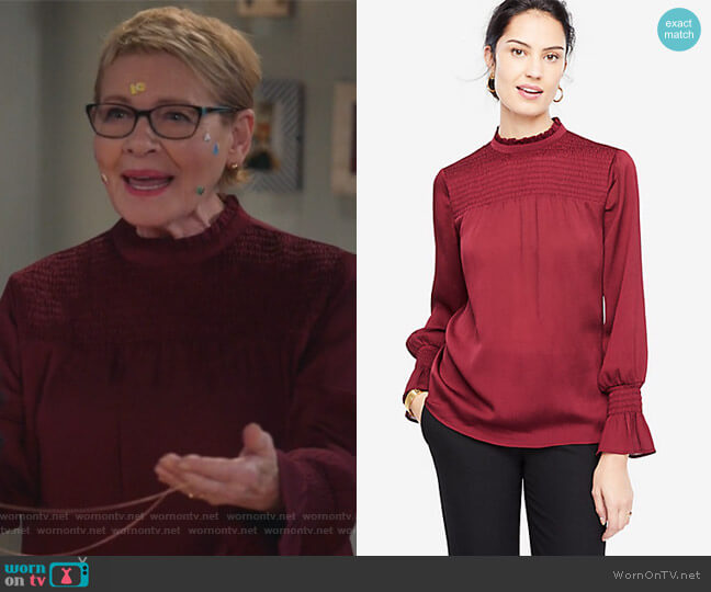Petite Smocked Blouse by Ann Taylor worn by Joan Short (Dianne Wiest) on Life in Pieces