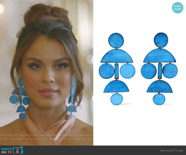 Pompom oxidized earrings by Annie Costello Brown worn by Cristal Flores (Nathalie Kelley) on Dynasty