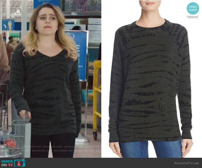Cashmere Tie-Dye Crewneck Sweater by Aqua worn by Mae Whitman on Good Girls