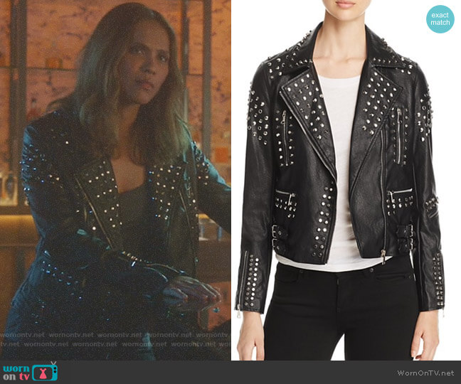 Studded Faux-Leather Moto Jacket by Aqua worn by Lesley-Ann Brandt on Lucifer